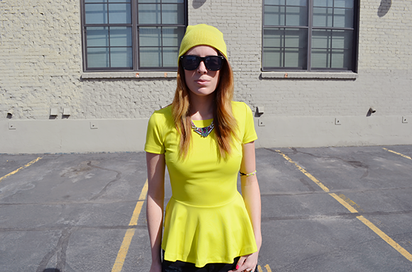 bright neon peplum and festival shorts | Outfit